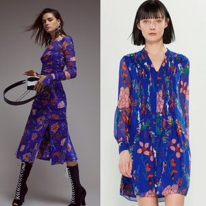 🦋🆕 DVF ✦ Spring Floral Print Silk Dress ✦ Cobalt